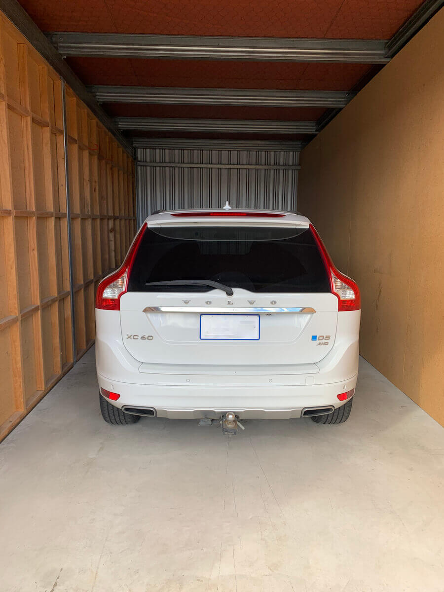 A car in a storage shed