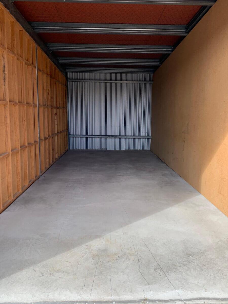An empty storage shed